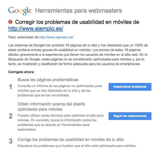 problemas usabilidad webmaster tools