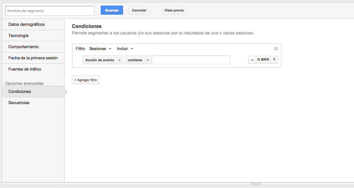 condiciones google analytics